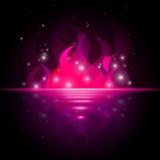 O fogo cor-de-rosa mostra o oceano impetuosamente e Starred ilustração royalty free