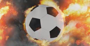 O fogo da bola de futebol arde 3d-illustration Fotografia de Stock