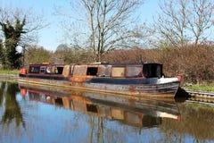 O fogo danificou o shell do barco estreito, canal de Lancaster Foto de Stock