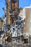O fogo das consequências destrói o moinho fotografia de stock