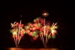 O fogo de artifício, mostra, comemora, o rei do aniversário Imagens de Stock