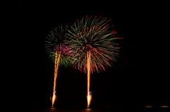 O fogo de artifício, mostra, comemora, o rei do aniversário Fotos de Stock Royalty Free