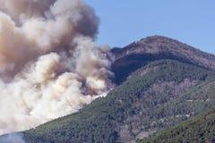 O fogo enorme nas madeiras de Monte Pisano ameaça os centros habitados de Vicopisano e de Bientina, Toscânia, Itália imagens de stock royalty free