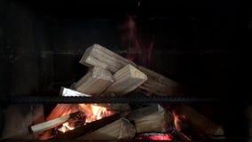 O fogo queima-se na chaminé no movimento lento vídeos de arquivo