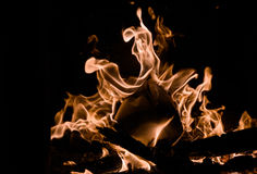 O fogo Um fogo na chaminé Foto de Stock Royalty Free
