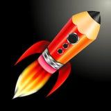 O foguete do lápis voa Imagens de Stock Royalty Free