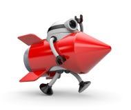 O foguete do terno do robô corre em algum lugar Imagens de Stock