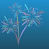 O foguete dos fogos-de-artifício explode em estrelas coloridas Elemento do projeto no fundo azul isolado ilustração abstrata do v ilustração do vetor