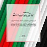 O folheto com linhas descasca cores da bandeira nacional de Emiratos Árabes Unidos UAE com o texto do dia nacional feliz ilustração do vetor