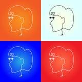 O fones de ouvido do vetor gosta de uma cara das mulheres Imagem de Stock Royalty Free