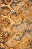 O foorptint do trabalhador do terreno de construção na areia apedreja o fundo fotos de stock