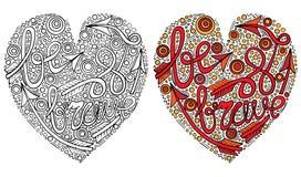 O formulário colorido do coração do vetor com seja texto corajoso para o livro para colorir ilustração do vetor