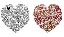 O formulário colorido do coração do vetor com seja texto forte para o livro para colorir ilustração stock