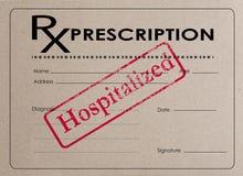 O formulário da receita que diz HOSPITALIZADO ilustração royalty free