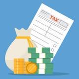 O formulário de imposto e o plano do dinheiro rebaixam-se ilustração stock