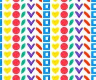O formulário diferente geométrico e as formas do teste padrão sem emenda circundam, esquadram, coração na repetição do arco-íris  ilustração royalty free