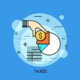 O formulário, a mão que guardam a moeda do dólar e a renda de imposto diagram ilustração do vetor