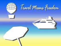 O forro do balão e do cruzeiro de ar vector a ilustração para férias de verão Fotos de Stock
