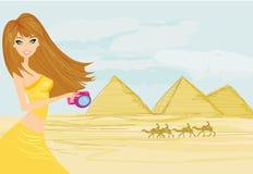 Fotógrafo da natureza que toma imagens em Giza ilustração royalty free