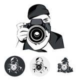 O fotógrafo, gráfico estilizou o desenho, ilustração do vetor Imagens de Stock Royalty Free