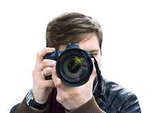 O fotógrafo toma um retrato Vista dianteira, close-up Imagem de Stock