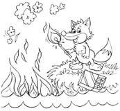 O Fox ajusta o incêndio a um mar Fotografia de Stock Royalty Free