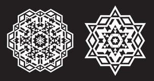 O Fractal étnico Mandala Vetora olha como o floco de neve ou a Maya Aztec ilustração stock