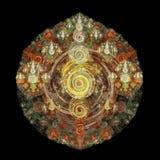 O fractal abstrato ondula no fundo preto Fotografia de Stock