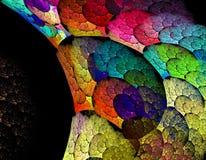 O fractal bonito, arco-íris abstrato colorido roda contra um bla Fotografia de Stock Royalty Free