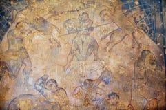 O fragmento da decoração da pintura mural e do teto em um Umayyad antigo abandona o castelo de Qasr Amra em Zarqa, Jordânia imagem de stock