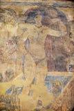 O fragmento da decoração da pintura mural e do teto em um Umayyad antigo abandona o castelo de Qasr Amra em Zarqa, Jordânia foto de stock royalty free