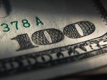 O fragmento da nota de dólar 100 Imagem de Stock