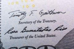 O fragmento da nota de dólar 100 Fotos de Stock Royalty Free