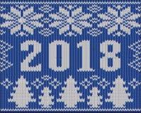 O fragmento dos feriados do Natal com 2018 anos novos fez malha a textura, vetor Fotografia de Stock