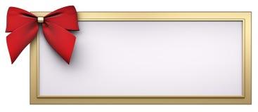 O frame dourado com curva vermelha 3d da fita rende Foto de Stock Royalty Free