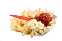 O francês frita o vermelho e o branco Fotos de Stock Royalty Free