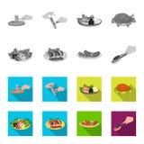 O frango frito, salada vegetal, no espeto com vegetais, fritou salsichas em uma placa Alimento e cozimento de coleção ajustada ilustração do vetor