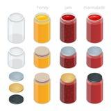 O frasco de vidro com com doce, configura ou mel Ilustração isométrica lisa do vetor 3d Fotografia de Stock