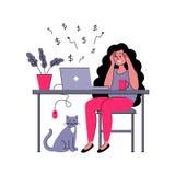 O freelancer bem sucedido da menina trabalha em casa Ilustração do vetor no estilo liso ilustração do vetor