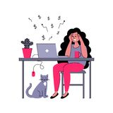 O freelancer bem sucedido da menina trabalha em casa Ilustração do vetor no estilo liso ilustração stock