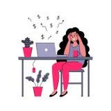 O freelancer bem sucedido da menina trabalha em casa Ilustração do vetor no estilo liso ilustração royalty free