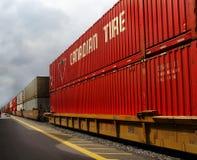 O frete Railroads o transporte, trem do recipiente Imagens de Stock