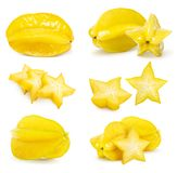 O fruto de estrela do Carambola ajustou-se isolado imagens de stock