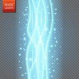 O fulgor azul redondo irradia a cena da noite com as faíscas no fundo transparente Pódio vazio do efeito da luz Dança do clube do Foto de Stock