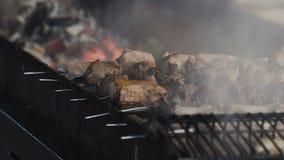 O fumo aumenta sobre a carne fritada nos espetos nos carvões Carne na grade vídeos de arquivo