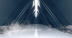 O fumo enevoa a luz de incandescência branca estrangeira no corredor dado forma do túnel do metal da reflexão triângulo Textured  ilustração royalty free