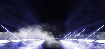 O fumo inclinado alinha a nave espacial estrangeira retro moderna de incandescência de néon de Violet Blue Sci Fi Futuristic da r ilustração royalty free
