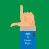 O fundo é uma mão com um plano aumentado do dedo-estilo do índice O chefe é sempre direito Fotografia de Stock Royalty Free