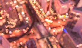 O fundo abstrato borrado ilumina-se, vista superior bonita da cidade de Banguecoque Foto de Stock Royalty Free