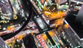 O fundo abstrato borrado ilumina-se, vista superior bonita da cidade de Banguecoque Fotos de Stock Royalty Free